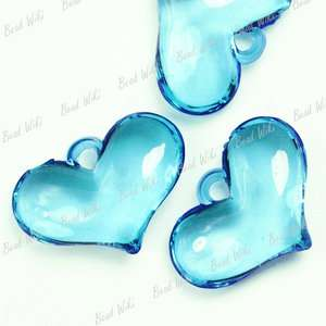 Blue Heart Love Acrylic Plastic Beads Pendants AR0134