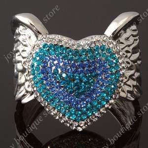 Blue Swarovski crystal heart Angel Wings cuff bracelets rhinestone