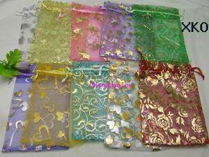 100 Mixed Organza Jewelery Wedding Favor Bags 4x6 XKO