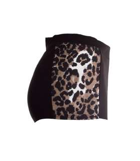 Womens New Black Leopard Print Panel Hotpants Ladies Shorts