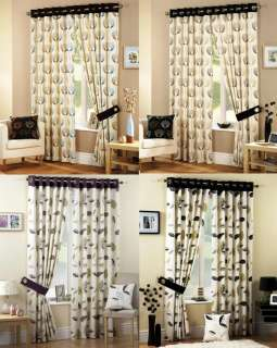 CREAM EYELET LINED CURTAINS PURPLE BLACK TEAL 46 66 90