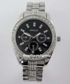Crystal Bling Bracelet Watches Big Dial in Black or Silver Tone