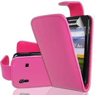 SAMSUNG GALAXY ACE S5830 PINK LEATHER CASE COVER+SCREEN