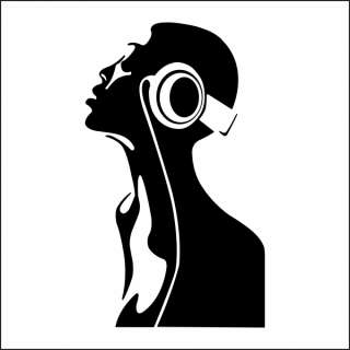 DJ Headphone Music Room, Bedroom Large Vinyl Wall Sticker