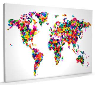 Map of the World Map Love Hearts, Box CANVAS, sizes A3 to A1   v776