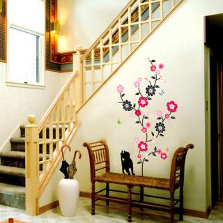 Cat Flower Tree Wall Stickers Vinyl Decals Home Decor