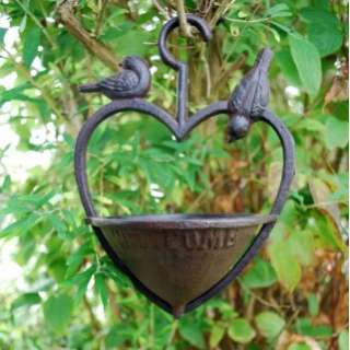 HANGING HEART GARDEN BIRD FEEDER ORNAMENT IN CAST IRON NEW FREE P+P