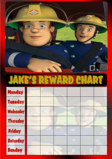 BOYS PERSONALISED RED FIREMAN SAM REWARD CHART & STARS