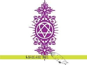 BAM MARGERA Heartagram Tattoo HIM Purple Decal Sticker