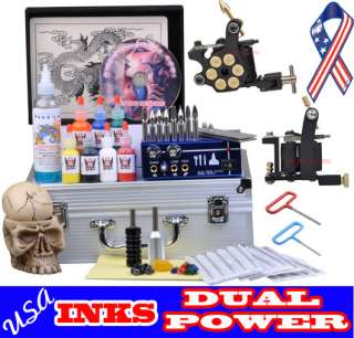 Complete Pro 2 Machine Tattoo kit set Dual Power Supply Ink Equipment