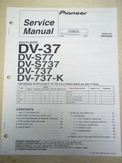 Service Manual~DV 37/S77/S737/737/K DVD Player~Original~Repair