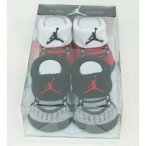 Michael Jordan 2 Pair Baby Booties Red/Black Size 3 6