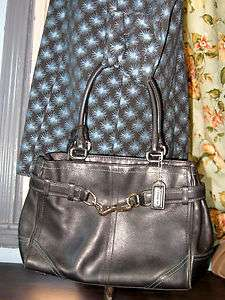 Auth Coach Hamptons Black Leather Satchel Handbag Purse Style E050