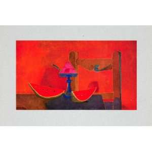 1947 Tipped In Print Rufino Tamayo Still Life Watermelon Slices