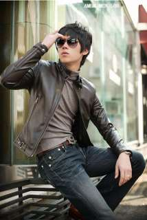 Z0809 New Mens Slim Fit Pu Leather Jackets Coats 2Color