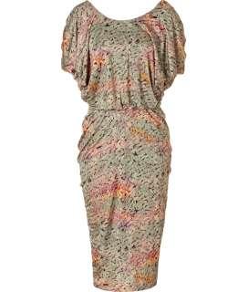 Saloni Sage Bamboo Print Silk Jersey Dress  Damen  Kleider