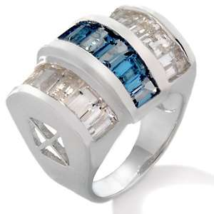 London Blue Topaz and White Topaz Sterling Silver Bold Ring