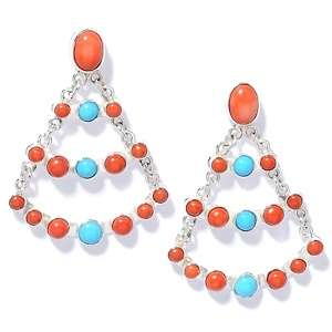 Jay King Coral and Sleeping Beauty Turquoise Earrings