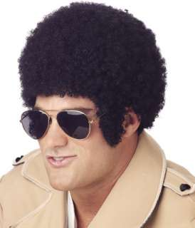 Afro Black traditional tight curl afro wig with long sideburns. One