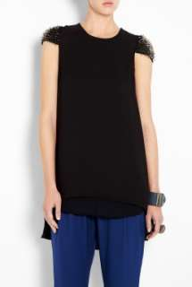 Phillip Lim  Black Beaded Cap Sleeve Layered Top by 3.1 Phillip