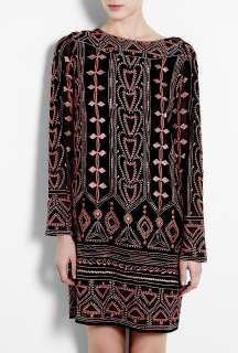 Antik Batik  Chirica Pink Embroidered Black Dress by Antik Batik