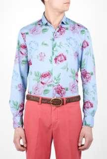 Hartford  Sky Rose Print Light Cotton Shirt by John Smedley