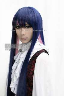 Stocking Cosplay Mixed Blue Pink Long Party Hair wig M3