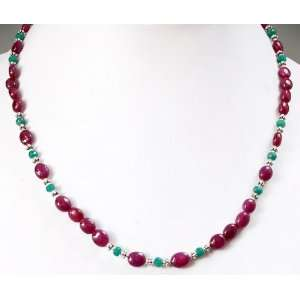 Strand Elegant Natural Ruby & Green Emerald Beaded Necklace Jewelry