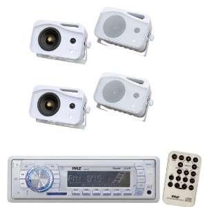 Pyle Marine Radio Receiver and Speaker Package   PLMR19W AM/FM