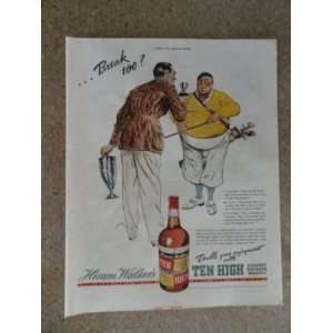 Ten High Whiskey,Vintage 30s full page print ad (golf
