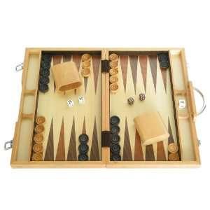 15 Backgammon Board Game Set (Oak Wood Attache Case