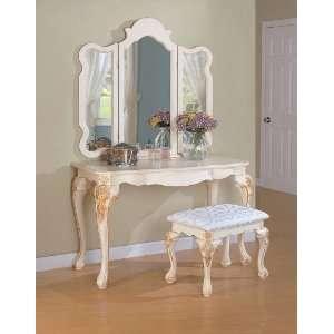 PC Elegant White Finish Vanity Table Mirror Stool Makeup Set