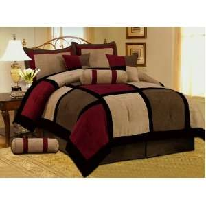 PC MODERN Black Burgundy Red Brown Suede COMFORTER SET / BED IN A BAG