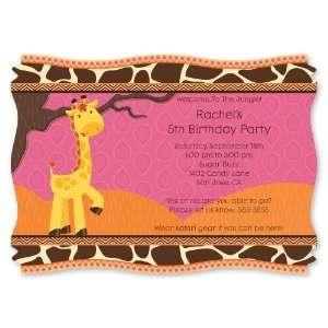 Giraffe Girl   Personalized Birthday Party Invitations