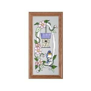 Bluebird BIRD HOUSE Suncatcher Window 11x22 Glass Panel