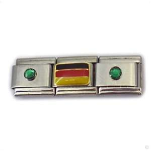 german Flag and birthstones green, Classic italy bracelet modul