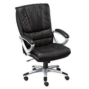 Leather Executive Chair G13 Black Leather/Silver Frame Office