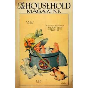 1929 Cover Household Magazine Spring Baby in Hat Box   Original Cover
