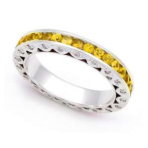 Pave set Diamond and Yellow Sapphire Eternity Wedding Band Ring