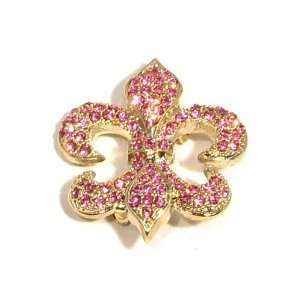 Pink Austrian Rhinestone Fleur de lis Gold Plated Brooch Pin Jewelry