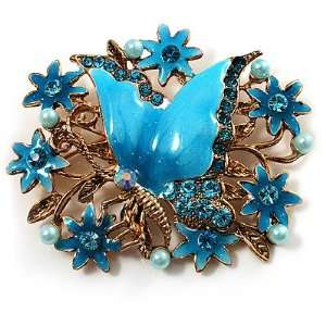 Blue Enamel Crystal Flower & Butterfly Brooch (Gold Tone) Jewelry