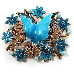 Blue Enamel Crystal Flower & Butterfly Brooch (Gold Tone) Jewelry