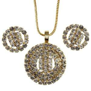 Gold plated Pendant, Chain and Earrings Set with American