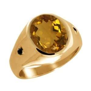 Oval Champagne Quartz and Black Diamond 14k Yellow Gold Ring Jewelry