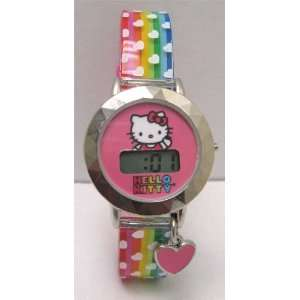 Hello Kitty Digital LCD Kids Metal Watch with Pink Heart Charm