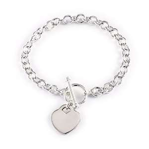 Silver Oval Link Heart Charm Toggle Bracelet (Small) 8.5 Jewelry