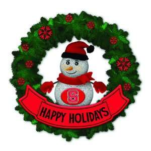 Wolfpack Lighted Snowman Artificial Christmas Wreath