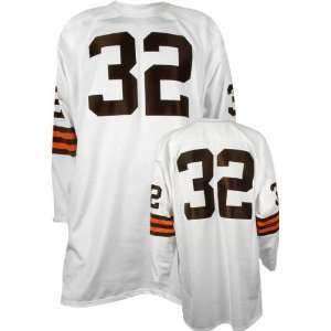 Jim Brown #32 Cleveland Browns Replica Throwback NFL Jersey White Size