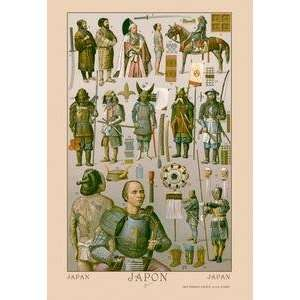 Paper poster printed on 20 x 30 stock. Japan   Ainos Military Costume