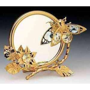 Bee Flower 24k Gold Plated Swarovski Crystal Mirror